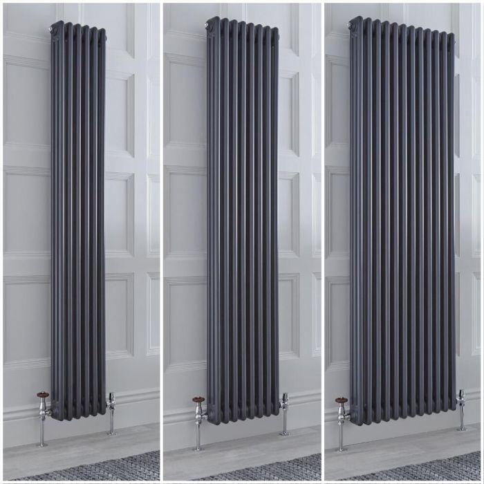Radiatore Tradizionale Triplo Verticale Antracite Windsor 1800mm - Disponibile in Diverse Misure e Piedini