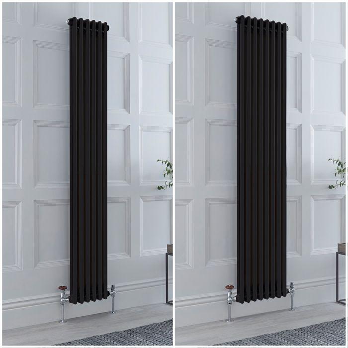 Radiatore Tradizionale Doppio Verticale Nero Windsor 1800mm- Disponibile in Diverse Misure e Piedini