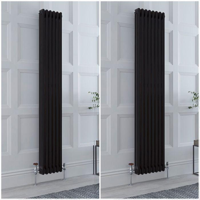 Radiatore Tradizionale Triplo Verticale Nero Windsor 1800mm - Disponibile in Diverse Misure e Piedini
