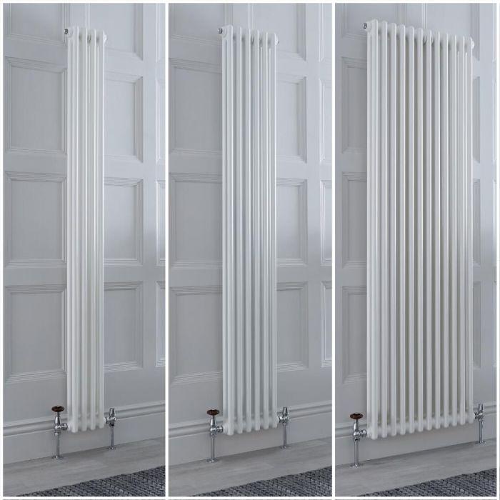 Radiatore Tradizionale Doppio Verticale Bianco Windsor - Disponibile in Diverse Misure e Piedini