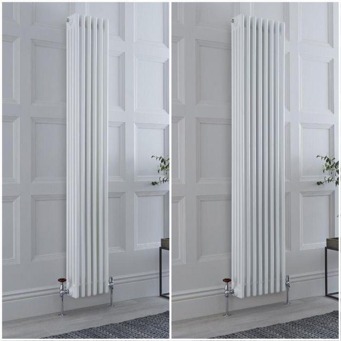Radiatore Tradizionale a 4 Colonne Verticale Bianco Windsor 1800mm - Disponibile in Diverse Misure e Piedini