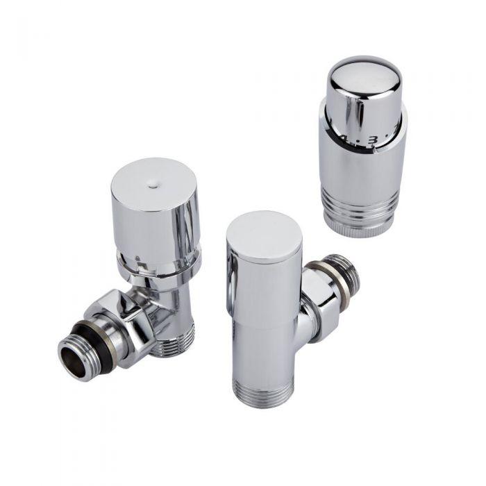 Coppia di Valvole a Squadra Termostatiche Cromate per Radiatori e Scaldasalviette con Selezione di Adattatori Pex e Multistrato 12mm