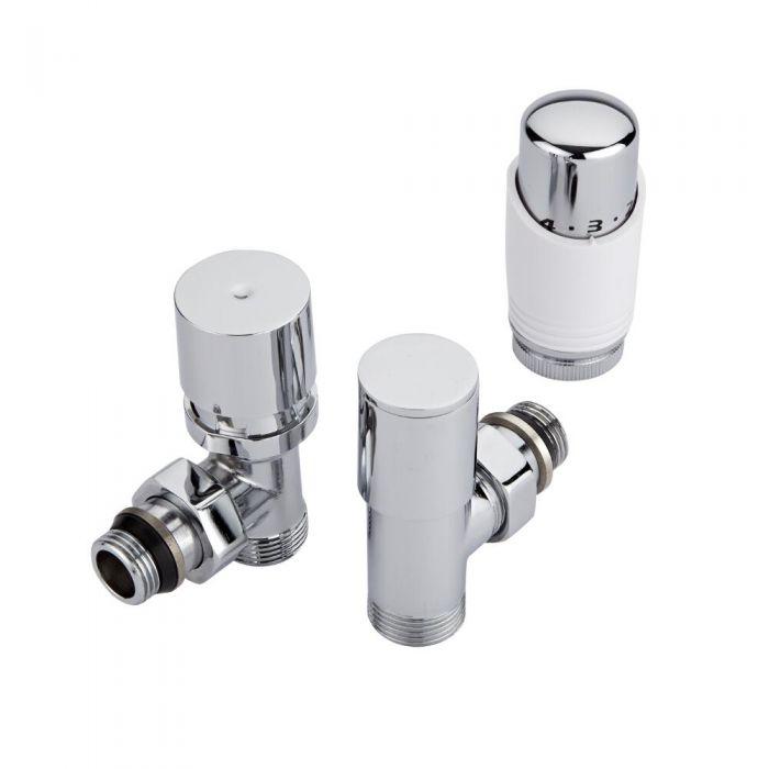 Coppia di Valvole a Squadra per Radiatori e Scaldasalviette con Testa Termostatica Bianca e Selezione di Adattatori - Pex e Multistrato 12mm
