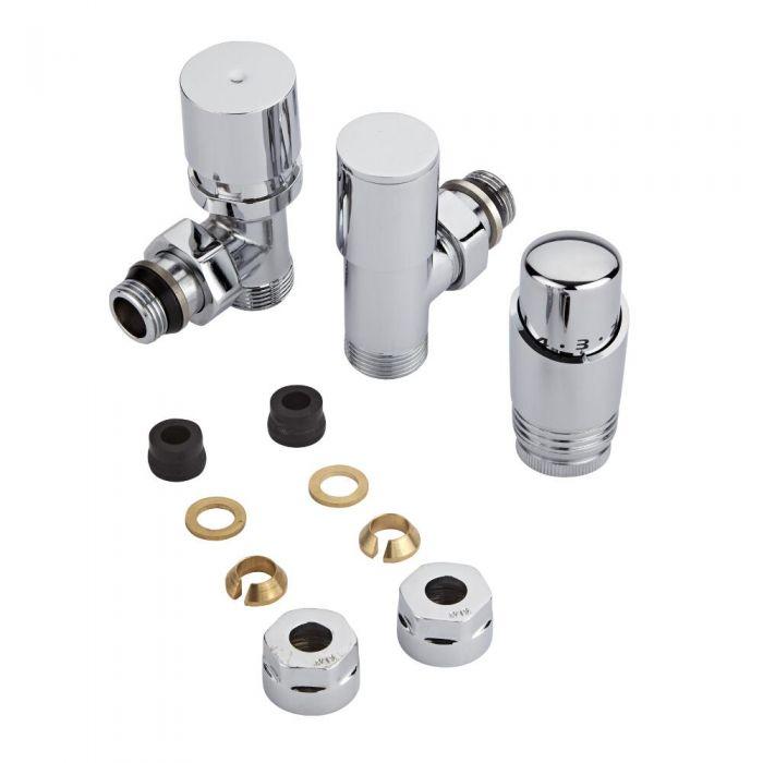 Coppia di Valvole per Radiatori e Scaldasalviette con Testa Termostatica Cromata e Adattatori  per Raccordi da 12mm - Rame 12mm
