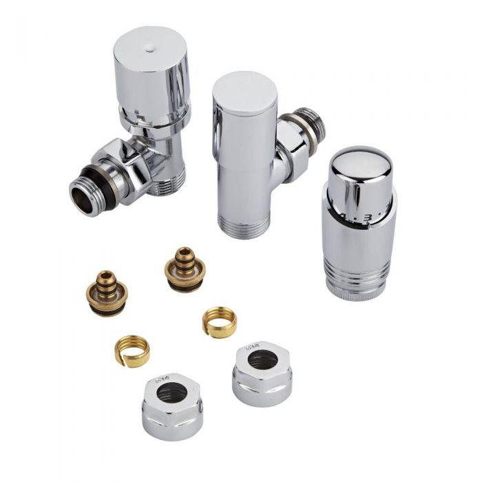 Coppia di Valvole per Radiatori e Scaldasalviette con Testa Termostatica Cromata e Adattatori per Raccordi Pex o Multistrato 14mm