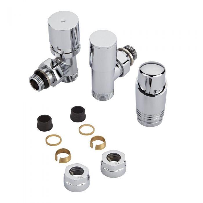 Coppia di Valvole per Radiatori e Scaldasalviette con Testa Termostatica Cromata e Adattatori per Tubi in Rame 16mm