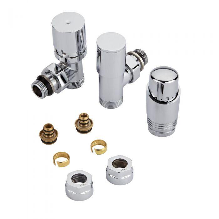 Coppia di Valvole per Radiatori e Scaldasalviette con Testa Termostatica Cromata e Adattatori per Raccordi Pex o Multistrato 16mm