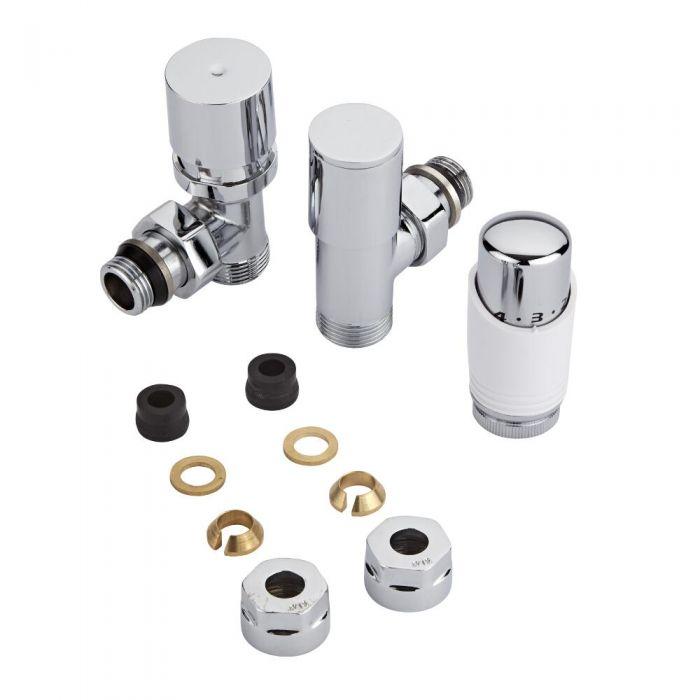Coppia di Valvole per Radiatori e Scaldasalviette con Testa Termostatica e Adattatori per Tubi in Rame 12mm