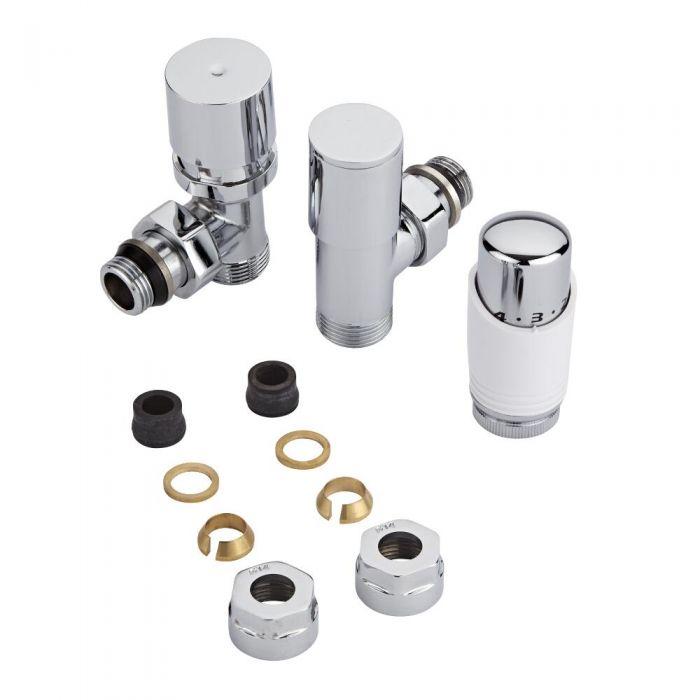Coppia di Valvole per Radiatori e Scaldasalviette con Testa Termostatica e Adattatori per Tubi in Rame 14mm