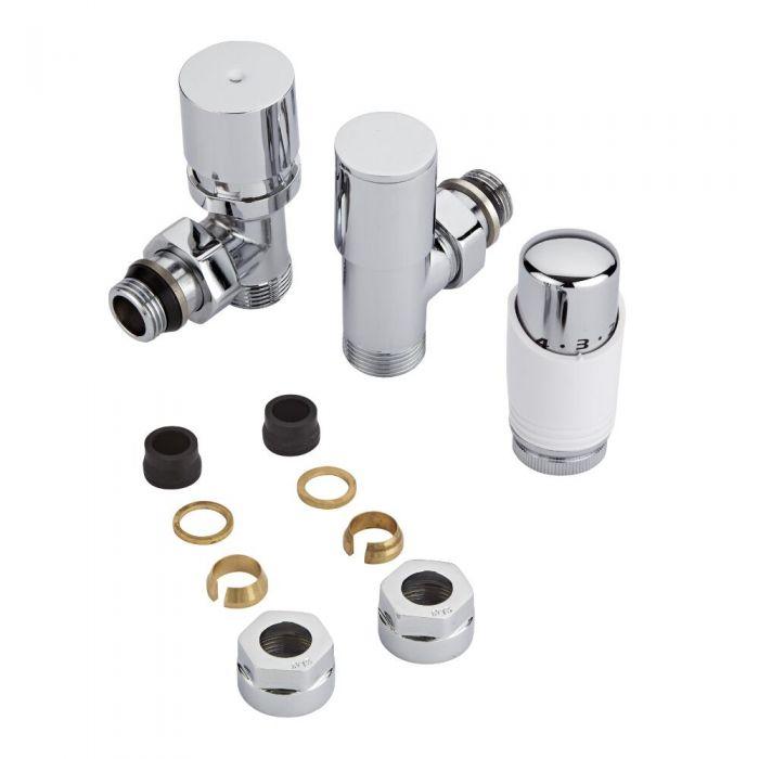 Coppia di Valvole per Radiatori e Scaldasalviette con Testa Termostatica e Adattatori per Tubi in Rame 15mm