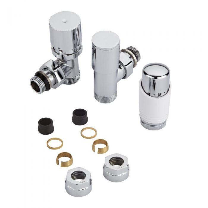 Coppia di Valvole per Radiatori e Scaldasalviette con Testa Termostatica e Adattatori per Tubi in Rame 16mm