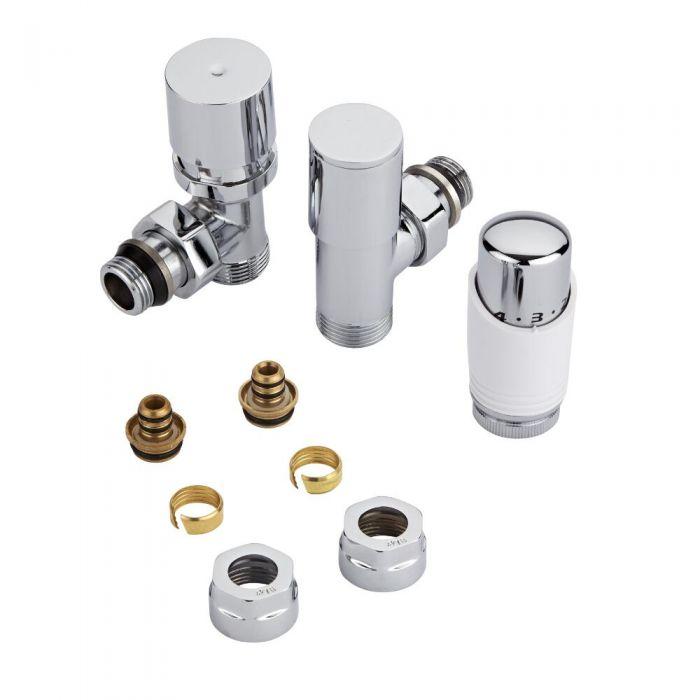 Coppia di Valvole per Radiatori e Scaldasalviette con Testa Termostatica e Adattatori Raccordi Pex o Multistrato 16mm