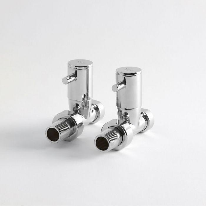 Paio di Valvole Minimaliste Diritte Per Radiatore e Scaldasalviette per Tubi in Rame 15mm