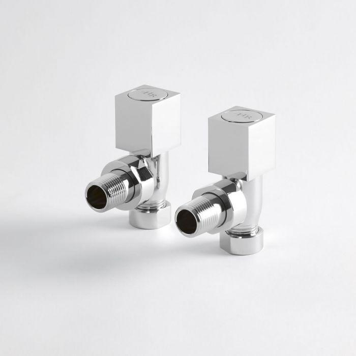 Paio di Valvole a Squadra in Ottone Cromato Quadrate Per Radiatore e Scaldasalviette per Tubi in Rame 15mm
