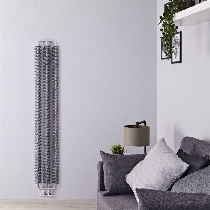 Radiatore di Design Verticale con Attacco Centrale - Argento Opaco - 1720mm x 290mm x 90mm - 836 Watt - Tatra