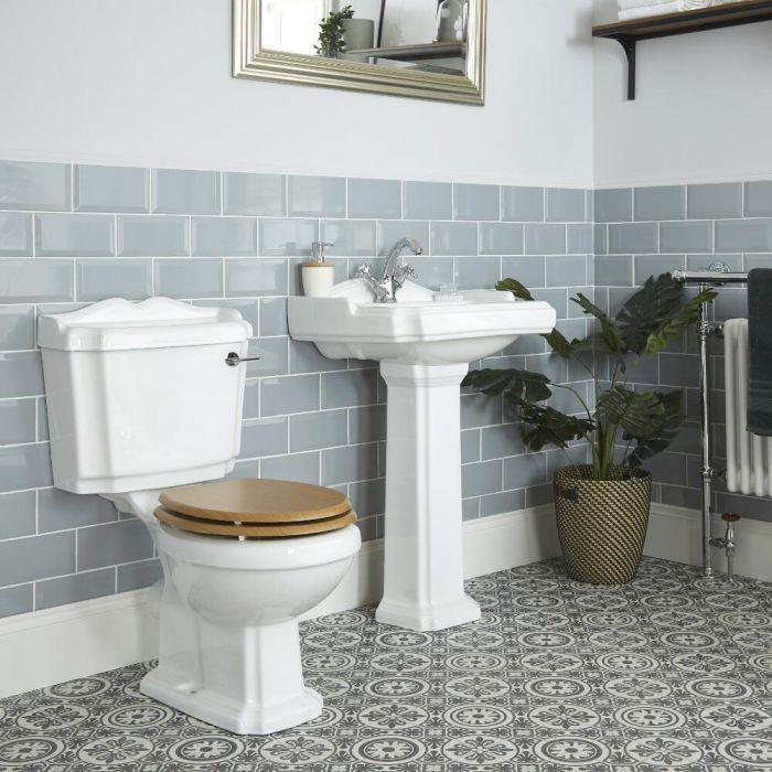 Set Bagno Tradizionale Completo di Sanitario WC Monoblocco e Lavabo su Colonna - Oxford
