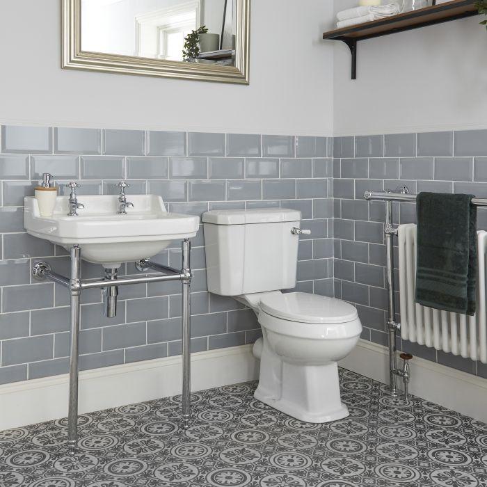 Set Bagno Tradizionale Completo di Sanitario WC Monoblocco e Lavabo con Consolle - Richmond