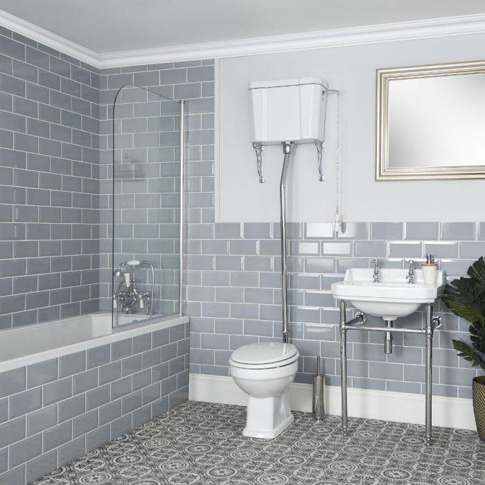 Set Bagno Tradizionale Completo di Sanitario WC con Cassetta Alta e Lavabo con Consolle - Richmond