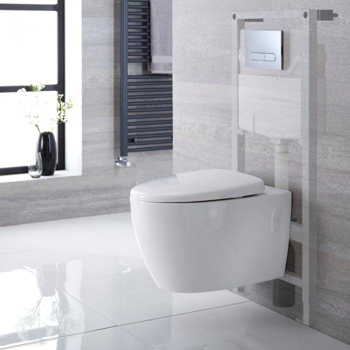 Sanitario Bagno WC Ovale Sospeso Rimless 610x420x480mm con Coprivaso, Telaio con Cassetta ad Incasso con Placca di Comando per WC A Doppio Pulsante -  Kenton