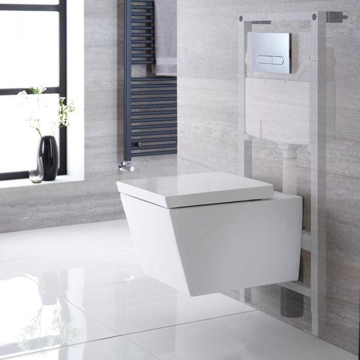 Sanitario Bagno WC Quadrato Sospeso Completo di Coprivaso, Telaio con Cassetta ad Incasso con Placca di Comando per WC A Doppio Pulsante -  Halwell