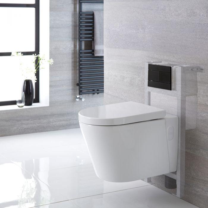 Sanitario Bagno WC Ovale Sospeso Completo Completo di Coprivaso, Telaio con Cassetta ad Incasso con Placca di Comando per WC A Doppio Pulsante -  Covelly