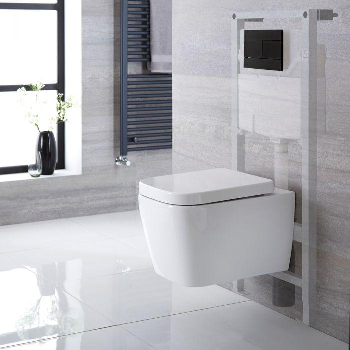 Sanitario Bagno WC Quadrato Sospeso 345x350x500mm con Sedile Copri WC Soft Close, Telaio con Cassetta ad Incasso con Placca di Comando per WC A Doppio Pulsante - Milton
