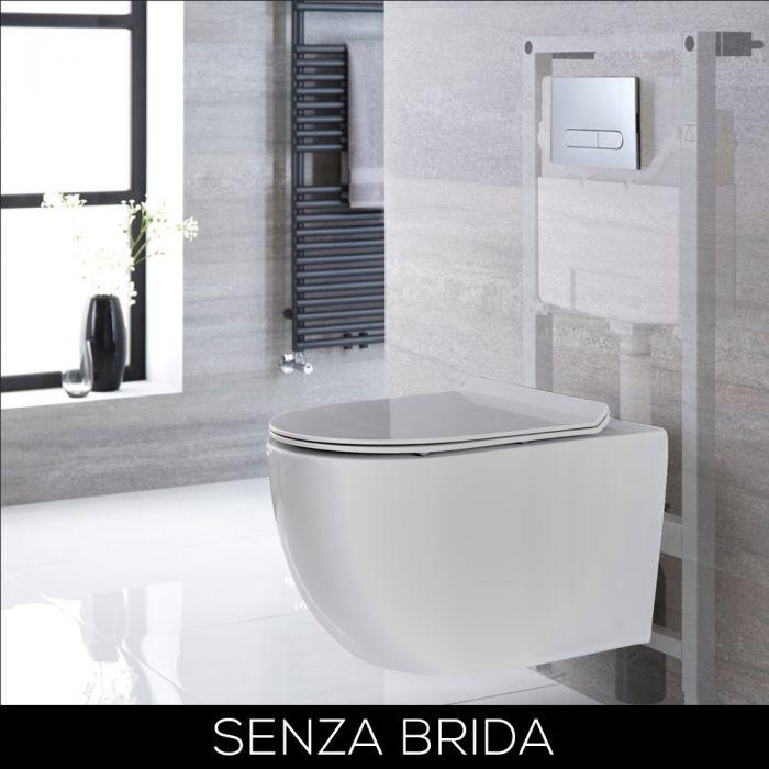Sanitario WC Moderno Sospeso Senza Bordi con Telaio – Bianco – Scelta di Placca Comando - Otterton