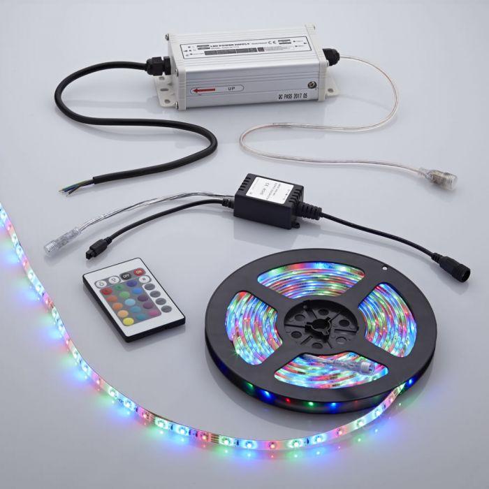 Biard Strisce LED 5 metri con Trasformatore e Controller LED Multicolore con Telecomando