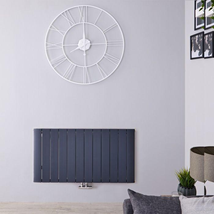 Radiatore di Design Orizzontale con Attacco Centrale - Alluminio - Antracite - 600mm x 1135mm x 46mm - 1535 Watt - Aurora
