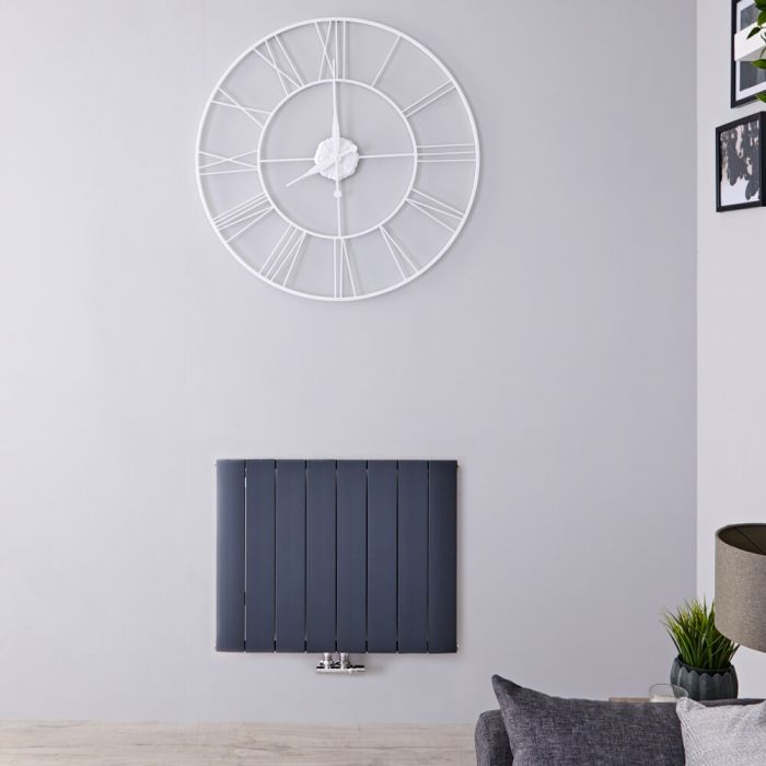 Radiatore di Design Orizzontale con Attacco Centrale - Alluminio - Antracite - 600mm x 755mm x 46mm - 1024 Watt - Aurora