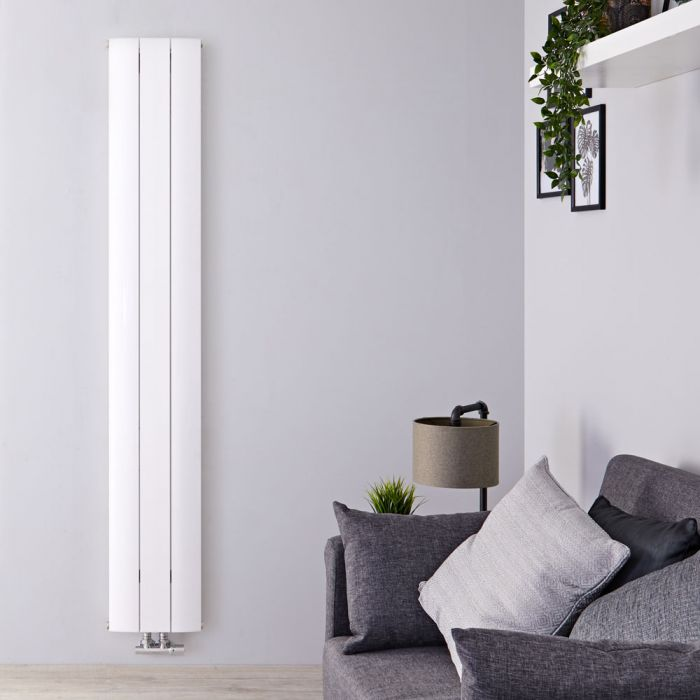 Radiatore di Design Verticale con Attacco Centrale - Alluminio - Bianco - 1600mm x 280mm x 46mm - 1021 Watt - Aurora