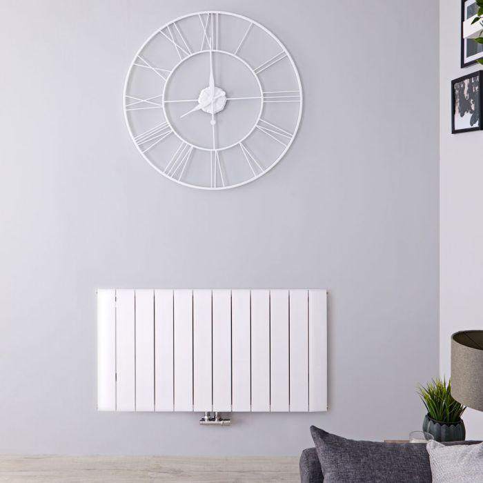 Radiatore di Design Orizzontale con Attacco Centrale - Alluminio - Bianco - 600mm x 1135mm x 46mm - 1535 Watt - Aurora