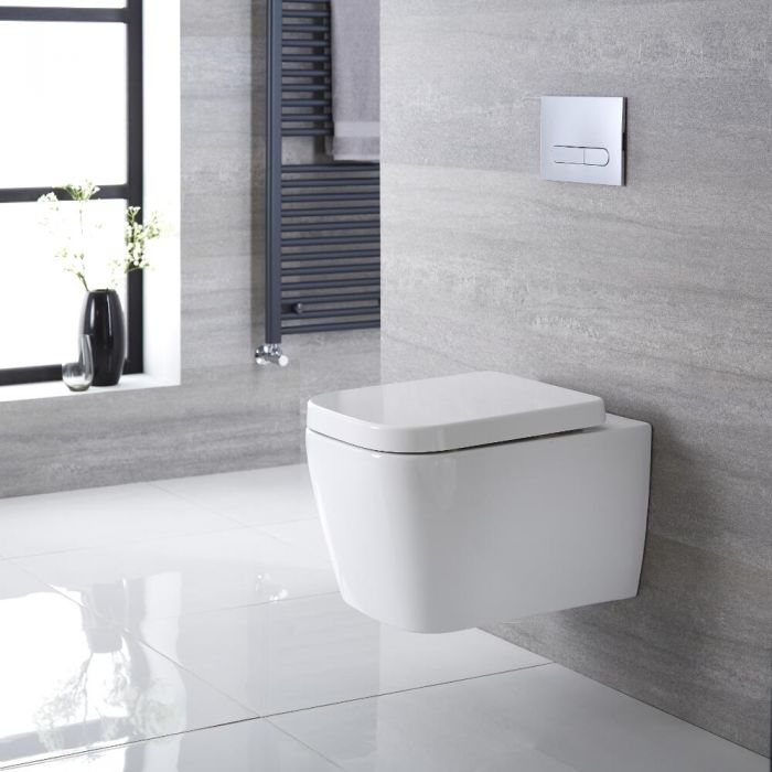 Sanitario Bagno WC Quadrato Sospeso 545x350x500mm con Sedile Copri Wc Soft Close - Milton