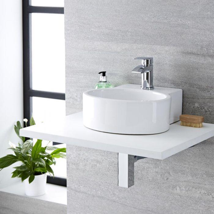 Lavabo Ceramica Per Bagno.Lavabo Bagno Da Appoggio Sospeso In Ceramica Tondo 345x330mm Covelly