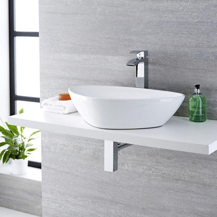 Lavabo Bagno da Appoggio in Ceramica Ovale 590x390mm - Kenton