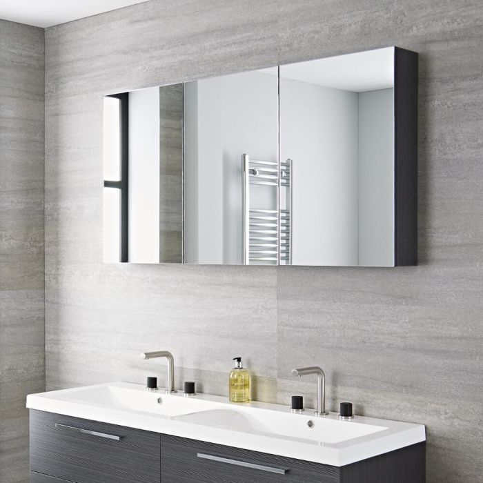 Specchio Bagno Mobile.Mobile Da Bagno Sospeso Con Specchio 1350x150x700mm Grigio