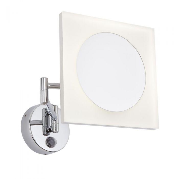 Specchio Ingranditore LED Murale Quadrato con Braccio Estensibile per Stanza da Bagno - Ladoga