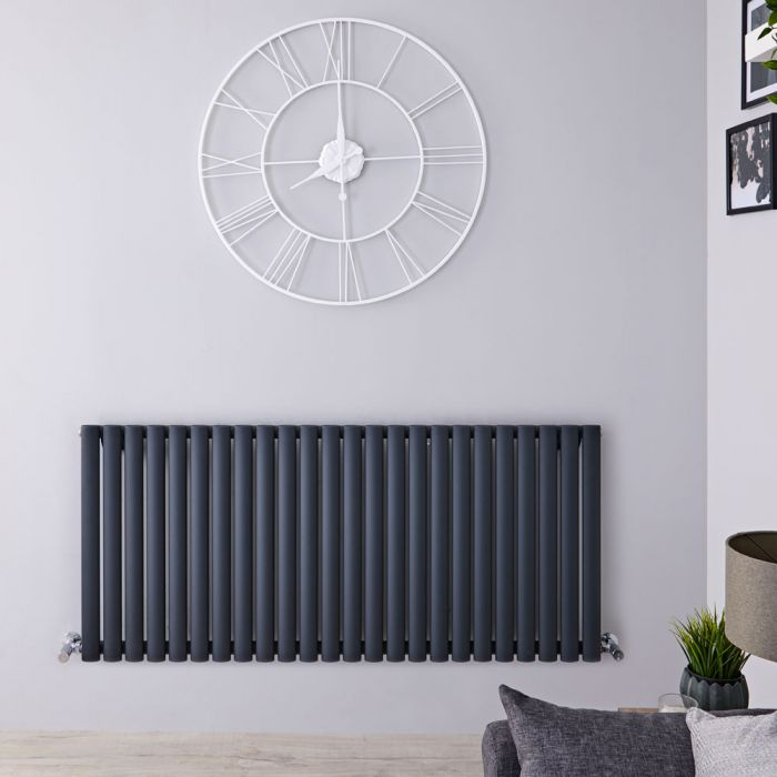 Radiatore di Design Orizzontale  - Antracite - 635mm x 1411mm x 56mm - 1433 Watt - Revive