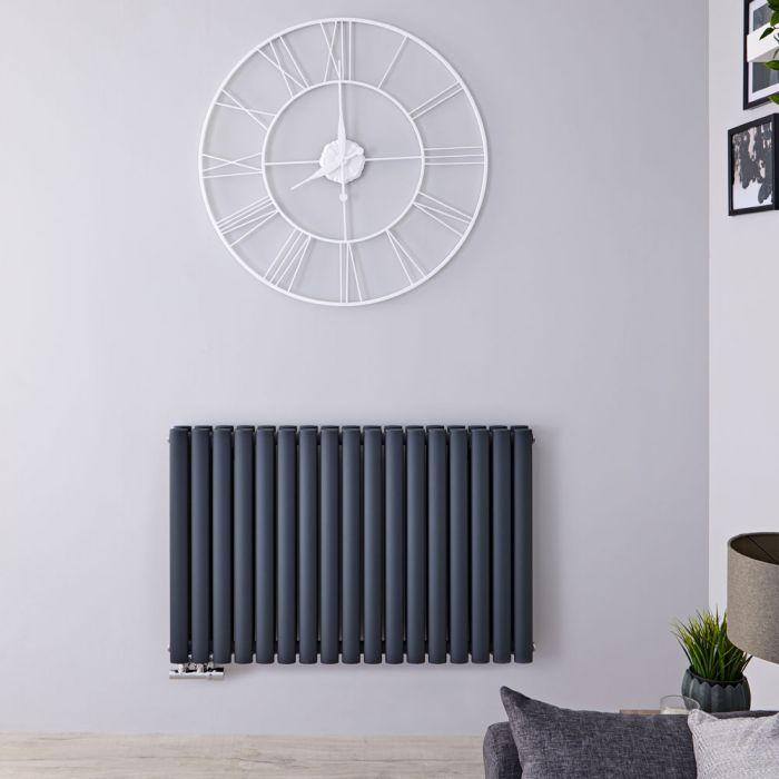 Radiatore di Design Orizzontale Doppio con Attacco Centrale - Antracite - 635mm x 1000mm x 78mm - 1773 Watt - Revive Caldae