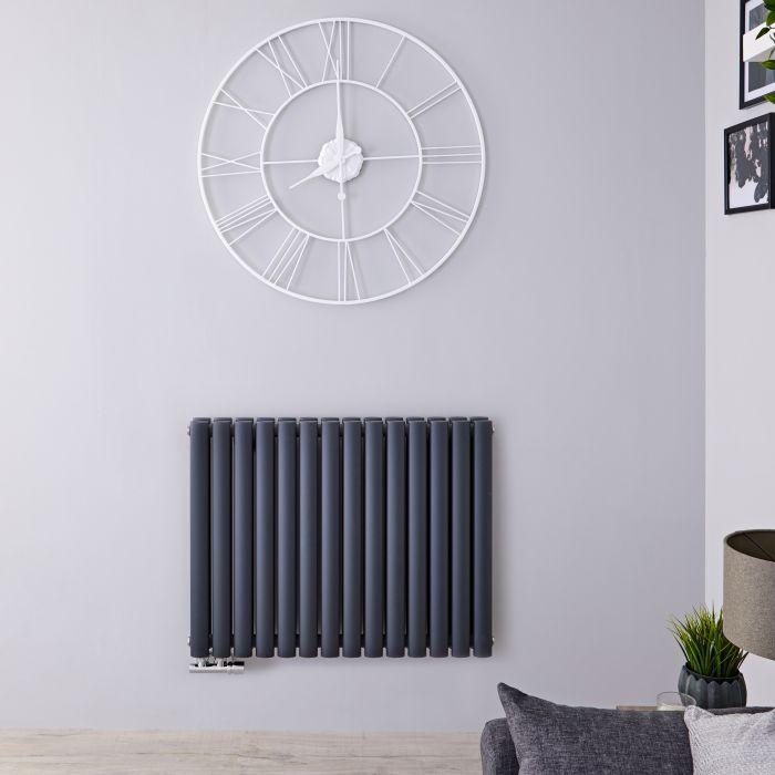 Radiatore di Design Orizzontale Doppio con Attacco Centrale - Antracite - 635mm x 834mm x 78mm - 1461 Watt - Revive Caldae