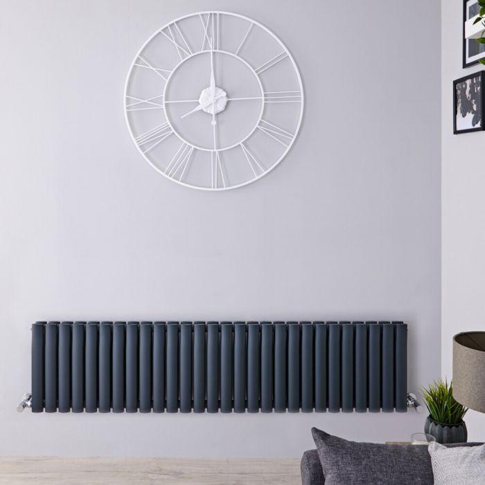 Radiatore di Design Orizzontale Doppio  - Antracita - 400mm x 1647mm x 78mm - 1733 Watt – Revive