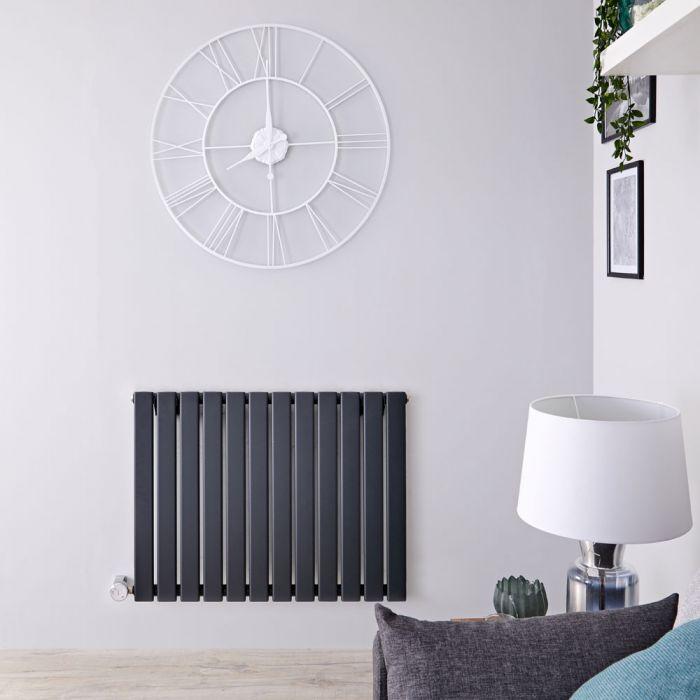 Radiatore di Design Elettrico Orizzontale - Antracite - 635mm x 840mm x 46mm  - Elemento Termostatico  800W  - Delta