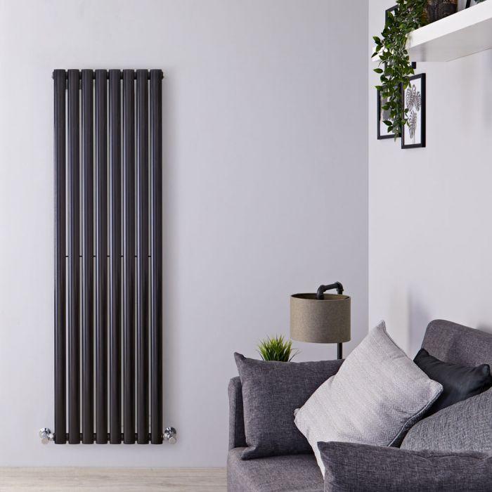 Radiatore di Design Verticale - Nero Lucido - 1600mm x 472mm x 56mm - 1122 Watt - Revive