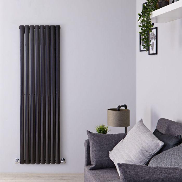 Radiatore di Design Verticale Doppio - Nero Lucido - 1600mm x 472mm x 78mm - 1638 Watt - Revive