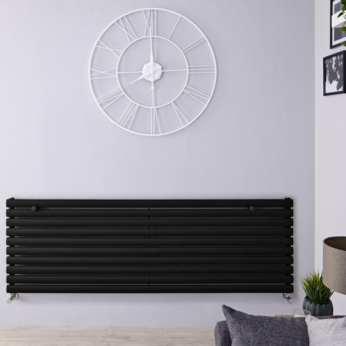 Radiatore di Design Orizzontale - Nero Opaco - 590mm x 1600mm x 55mm - 1299 Watt - Revive