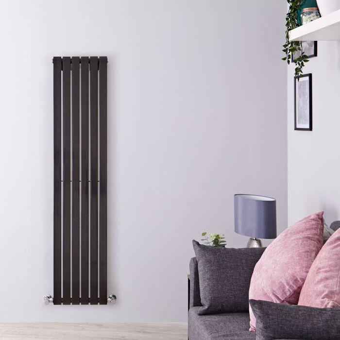 Radiatore di Design Verticale - Nero Lucido - 1600mm x 354mm x 54mm - 862 Watt - Sloane