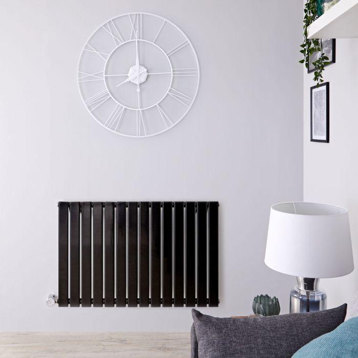 Radiatore di Design Elettrico Orizzontale - Nero Lucido - 635mm x 980mm x 46mm - Elemento Termostatico 800W - Delta