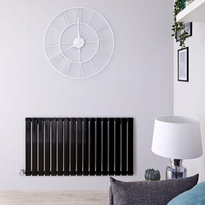 Radiatore di Design Elettrico Orizzontale - Nero Lucido - 635mm x 1190mm x 46mm - Elemento Termostatico 1000W - Delta