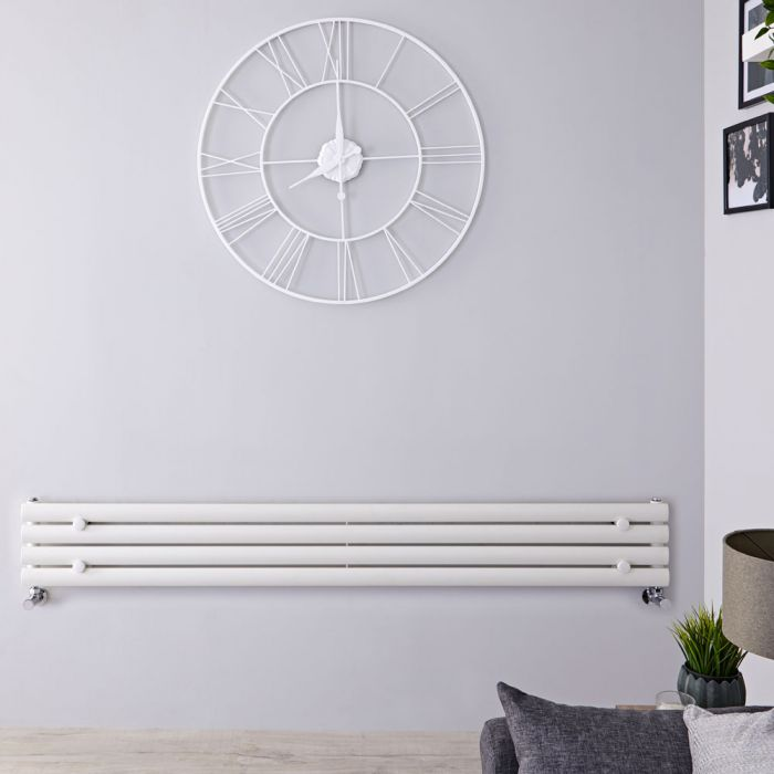 Radiatore di Design Orizzontale  - Bianco - 236mm x 1600mm x 78mm - 518 Watt - Revive