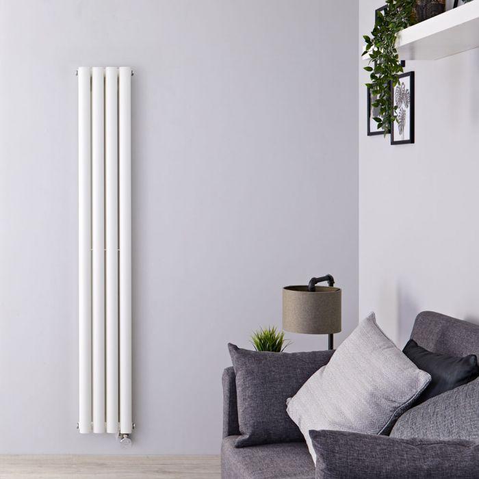Radiatore di Design Elettrico Verticale Doppio - Bianco - 1600mm x 236mm x 78mm  - 1 Elemento Termostatico 1200W  - Revive